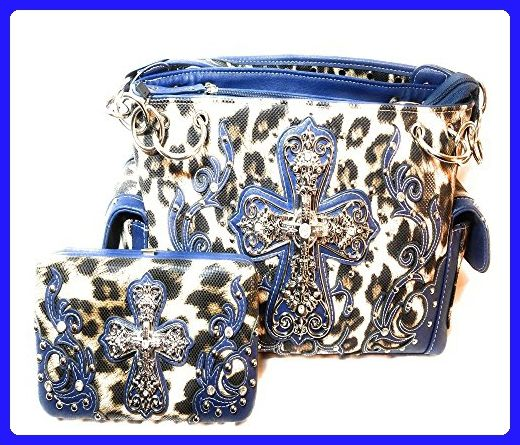 Cowgirl Trendy Western Concealed Carry Leopard Print Cross with Wallet Set  …Navey - Top handle d1dd049e6f