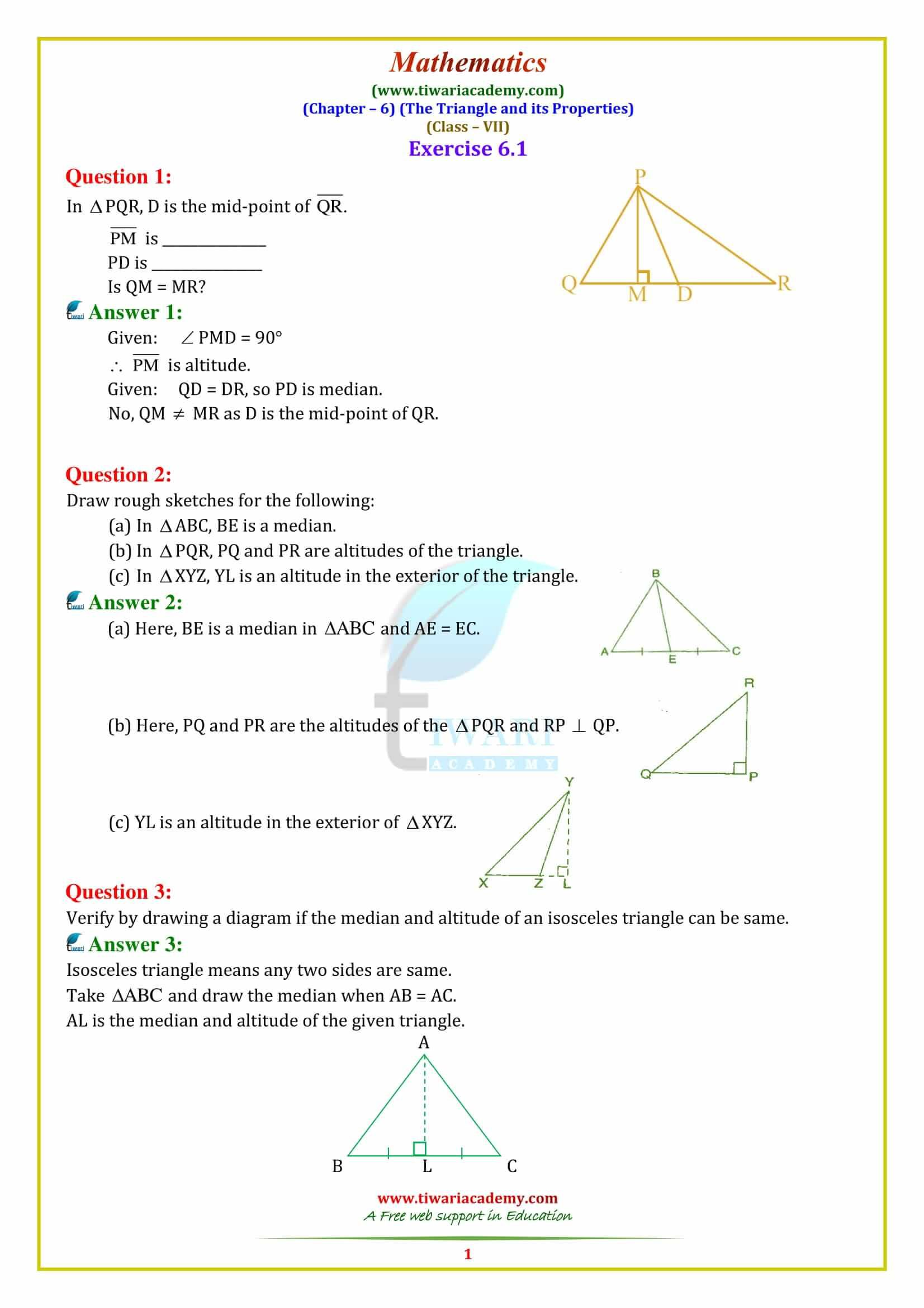 hight resolution of CBSE NCERT Solutions for class 7 Maths Chapter 6 Triangles and its  properties   Math