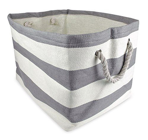 Beau DII Home Essentials Woven Paper, Collapsible, Convenient Storage Bin   Large  Long X Wide X High) In Olive Green Rugby Stripe
