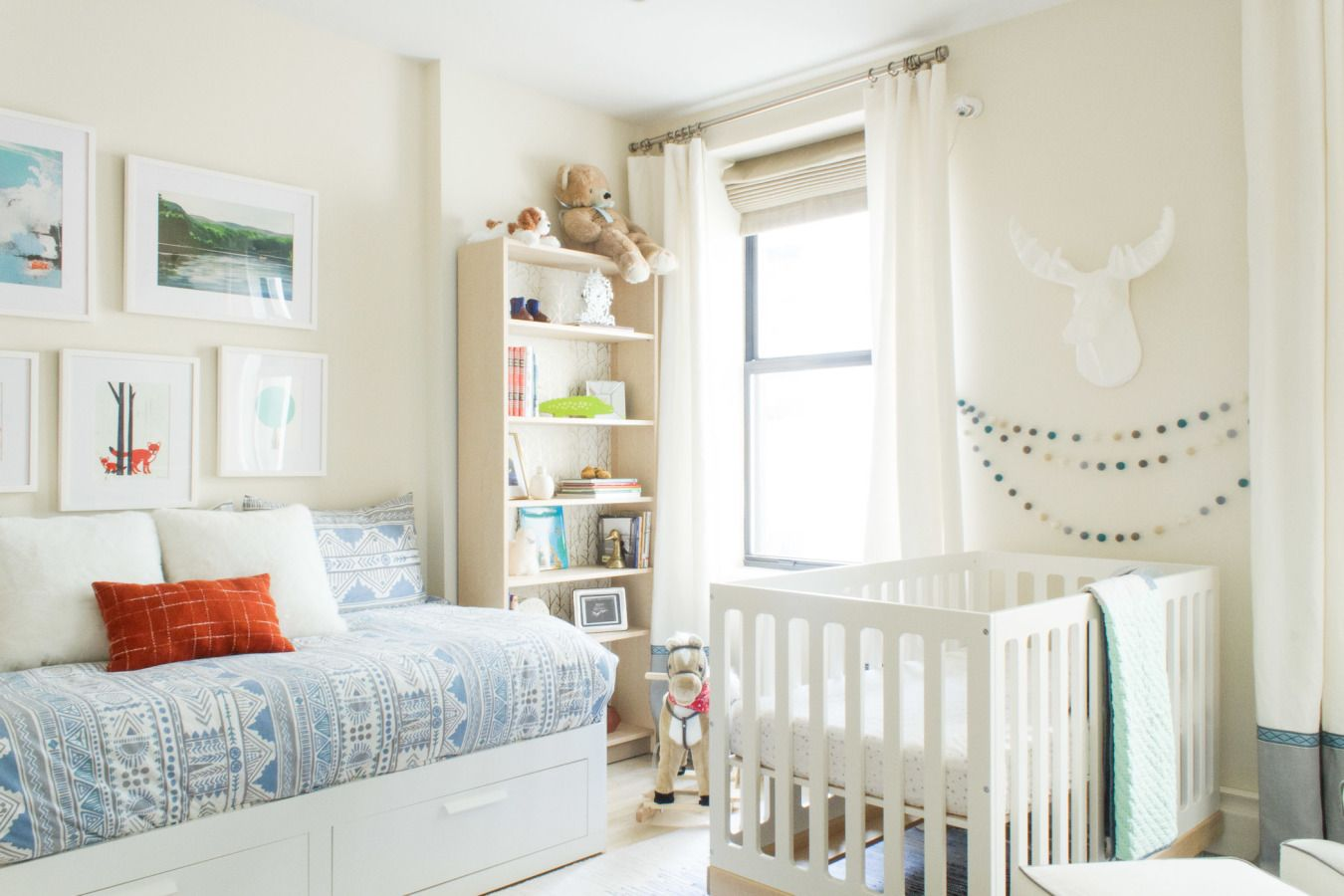 Marvelous Peaceful Modern Nursery In New York With Mountain Murals In Shades Of  Blue Grey.