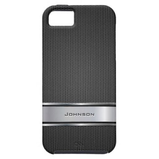 A Customized Black Mesh with Silver Metal Leather Label - iPhone case for you. This specific design can be personalized with your name.