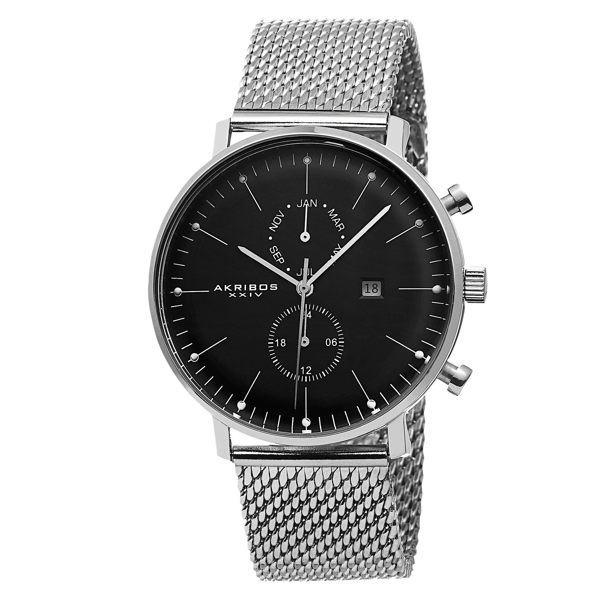 This Akribos XXIV men's watch is an elegant piece. The matte dial features the date, month and dual time. Clean markers and mesh bracelet create a classic look. The stainless steel build and Swiss quartz movement makes this a sturdy timepiece.