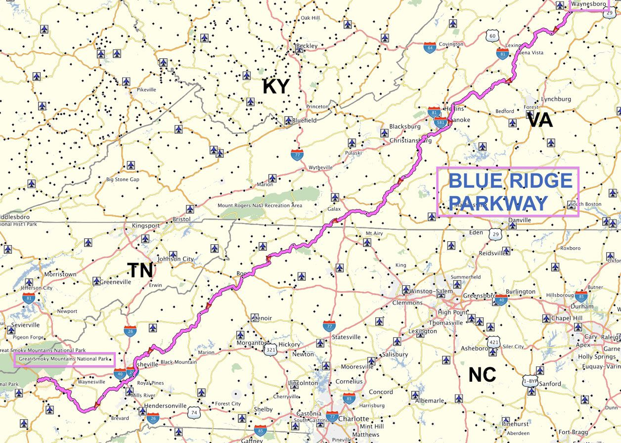 map great smoky mountains national park amd blue ridge parkway