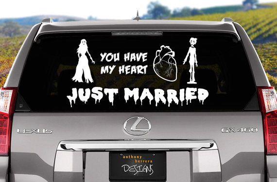 Zombie Love Just Married Wedding Vinyl Window Cling Decal Vinyls - Vinyl window clings for cars