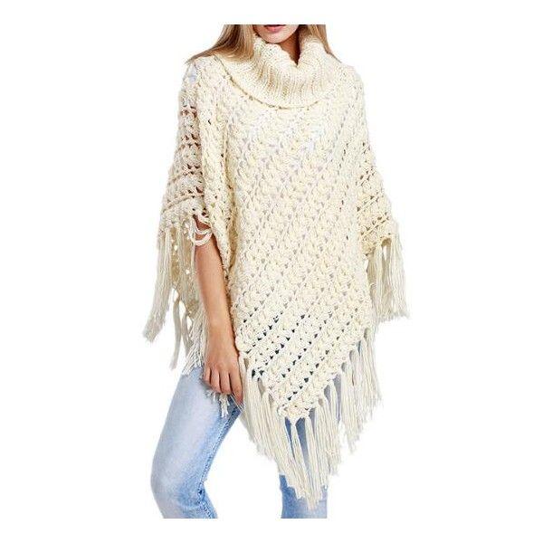 cape poncho en laine maille avec franges poncho pinterest poncho en laine franges et. Black Bedroom Furniture Sets. Home Design Ideas
