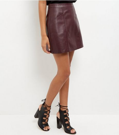 select for authentic enjoy lowest price top-rated newest Burgundy Leather-Look Mini Skirt   New Look   good to go ...