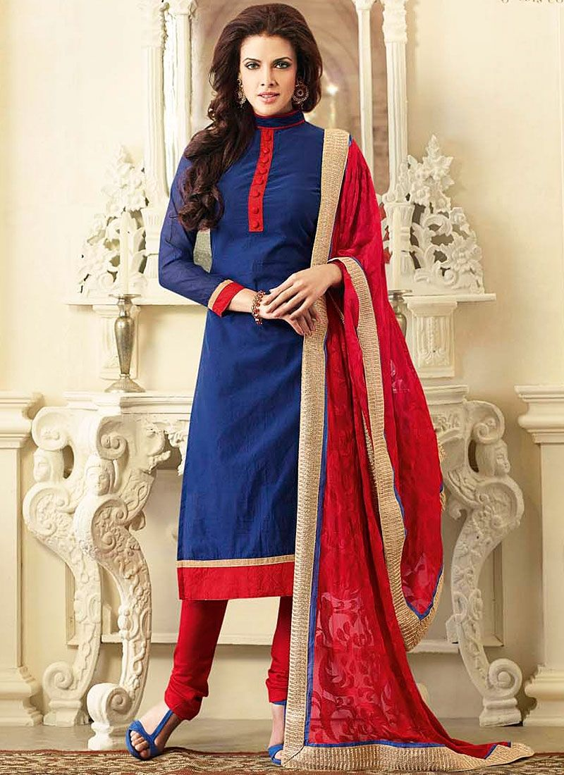 Blue chanderi cotton churidar suits | Cotton Suits | Pinterest ...