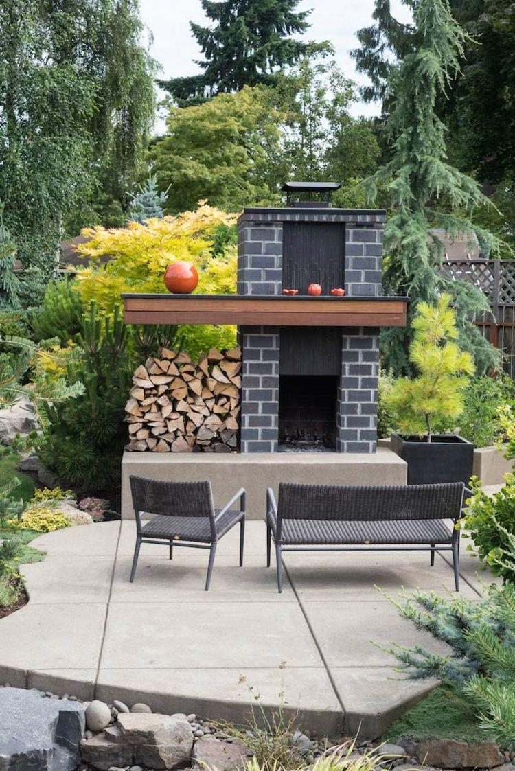 Gartenkamin selber bauen mit modernem Design | Kamin und Feuerstelle ...