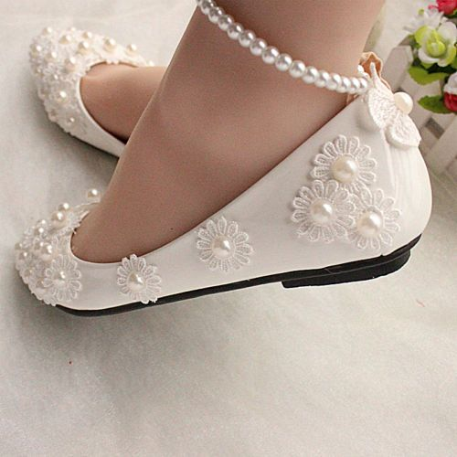 White lace Wedding shoes pearls ankle trap Bridal flats low high heels size  5-12 c9d70f71f987
