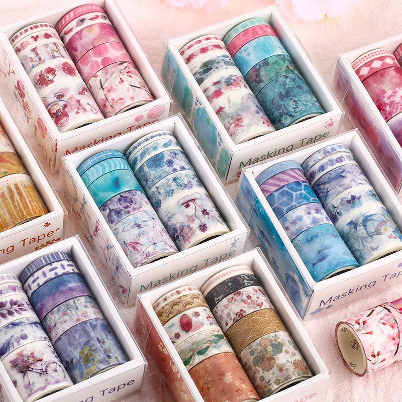 10Pcs//Set Washi Tape Roll DIY Scrapbooking Masking Adhesive Tape Various Sizes