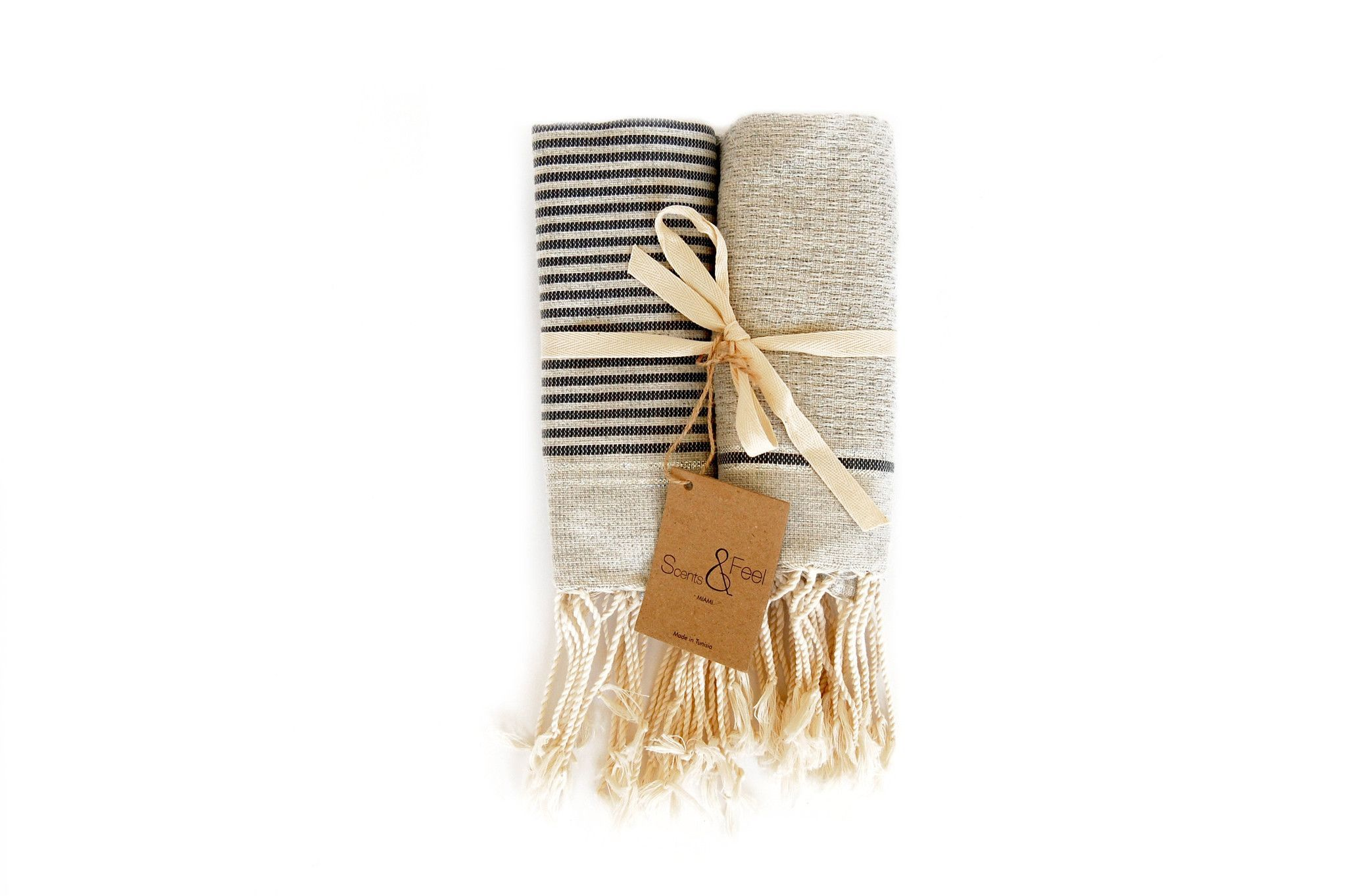 Pair of Fouta Guest Towels, Gray + Dark Gray