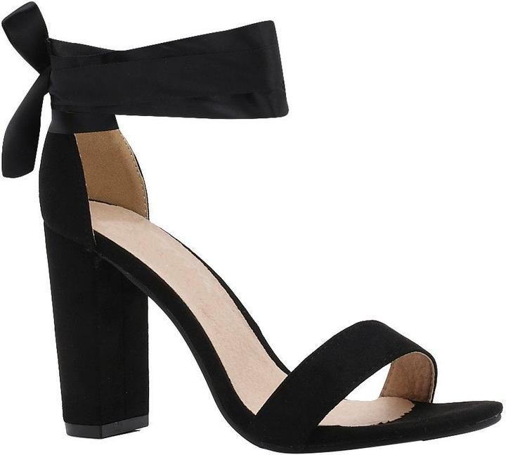 b53ea0e1e5e boohoo Katie Block Heel Ribbon Tie Up Heels | Products in 2019 | Tie ...