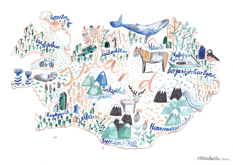 Poster Island Illustrierte Karten Gretas Schwester Und Illustration
