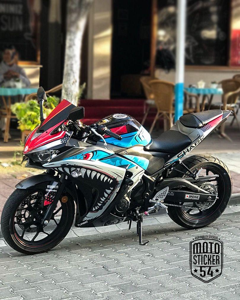 Yamaha r25 special design turbo shark sticker kit motosticker54 motorcycle yamaha r25 sticker wrap