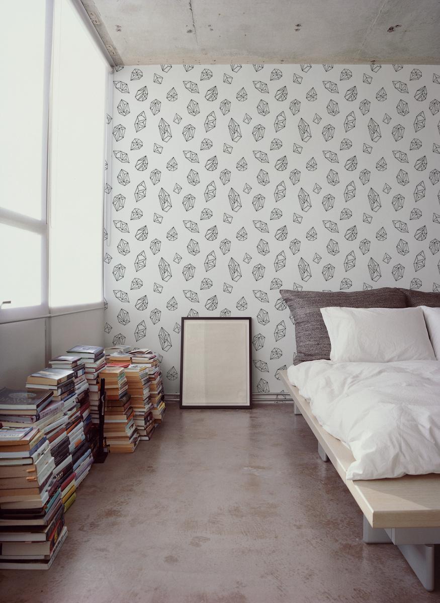 Black And White Geometric Removable Wallpaper Black