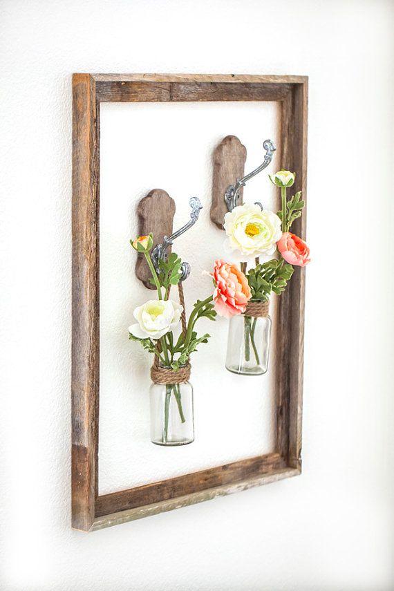Framed Flower Wall Vases Farm House Decor Wall by AvalonPrintShop ...