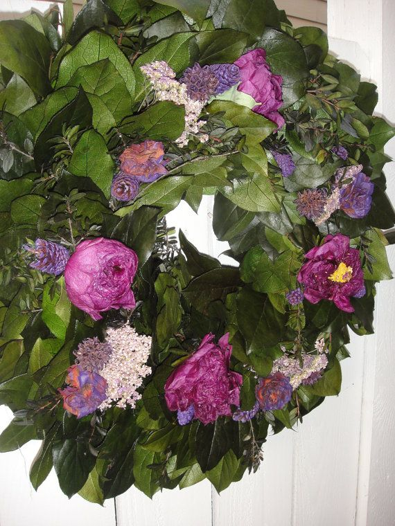Peony Wreath    Preserved Salal Wreath   Dried by donnahubbard, $75.00