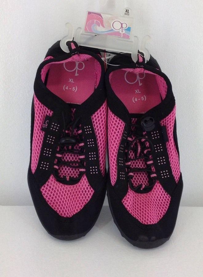 cc2796ccb681 Girls OP Ocean Pacific 4-5 XL Aqua Sock Water Shoe Hot Pink Black Bungee  Laces  Op  WaterShoes