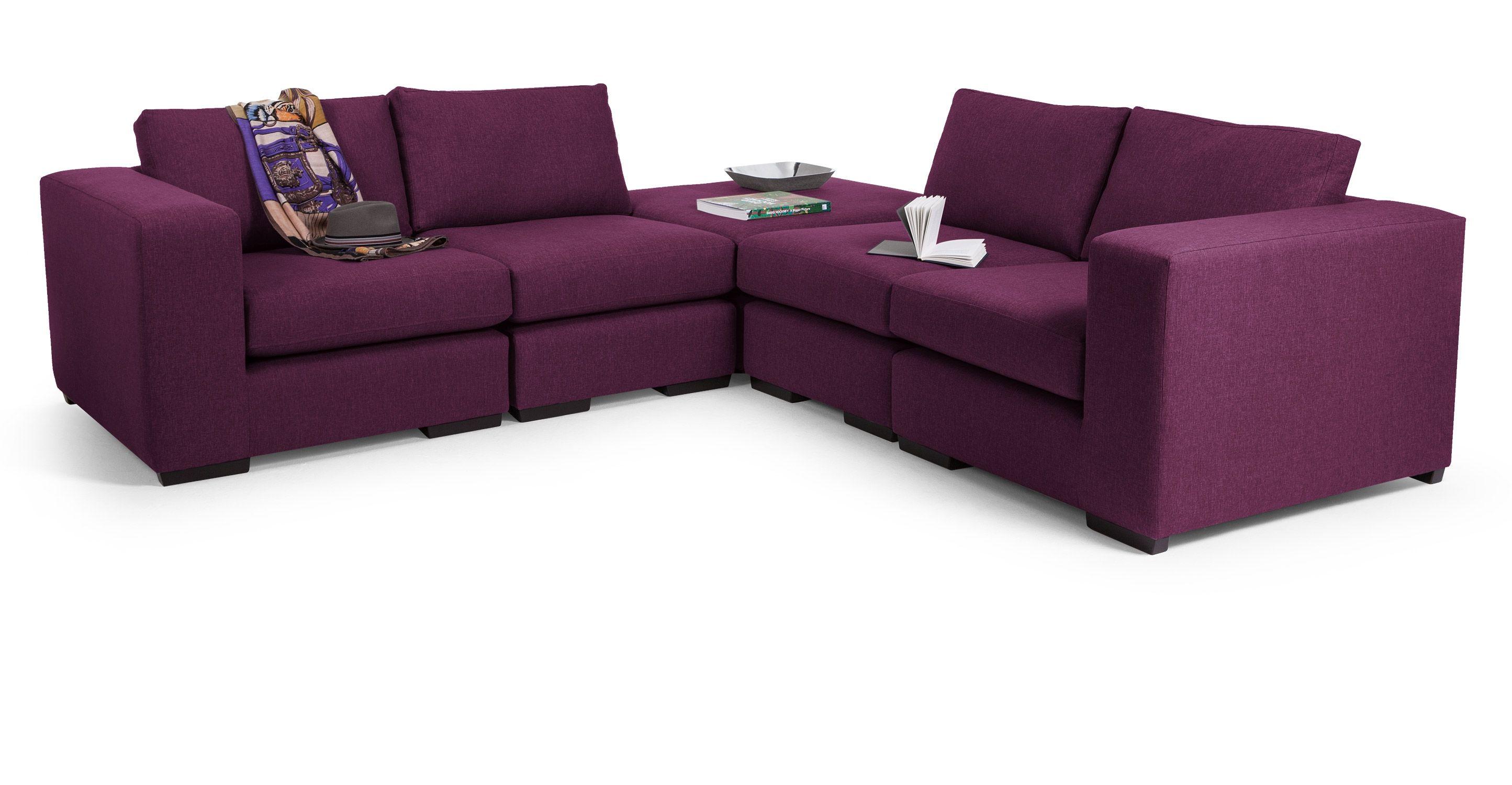 Abingdon Modular Corner Sofa Group, Grape Purple Modular