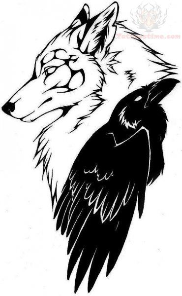 wolf head and raven tattoo design i really like this. Black Bedroom Furniture Sets. Home Design Ideas