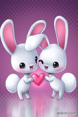 خلفيات موبايل Hd بجودة عالية Bunny Wallpaper Cartoon Bunny Love Wallpaper