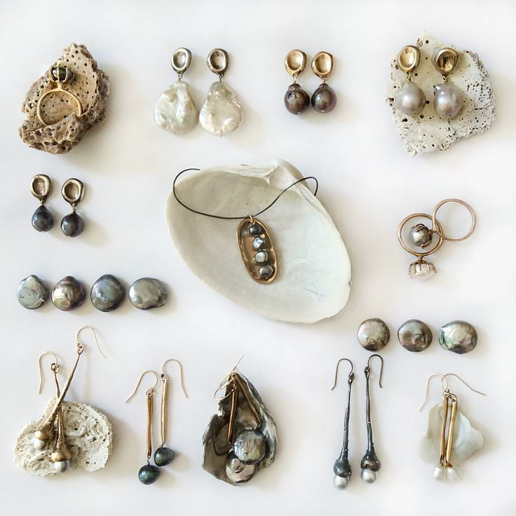Different pieces from my jewelry collection of earrings, rings and ...