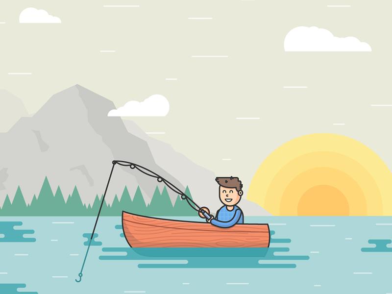 Fisherman Simple Illustration Illustration Easy Drawings