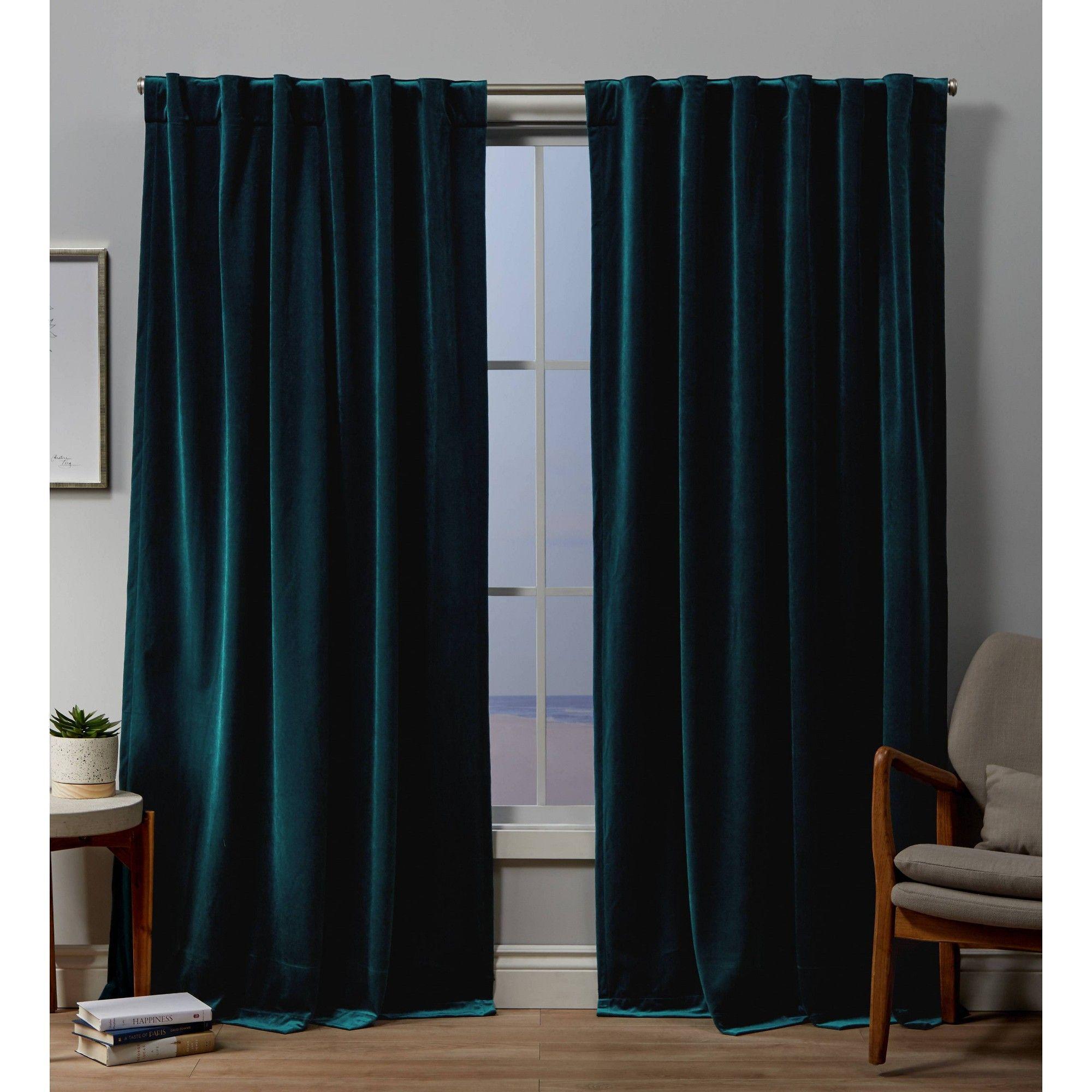 54 X108 Velvet Back Tab Light Filtering Window Curtain Panels