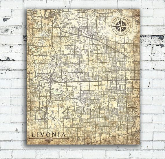 LIVONIA Canvas Print Michigan Mi Livonia City Vintage map Wall Art