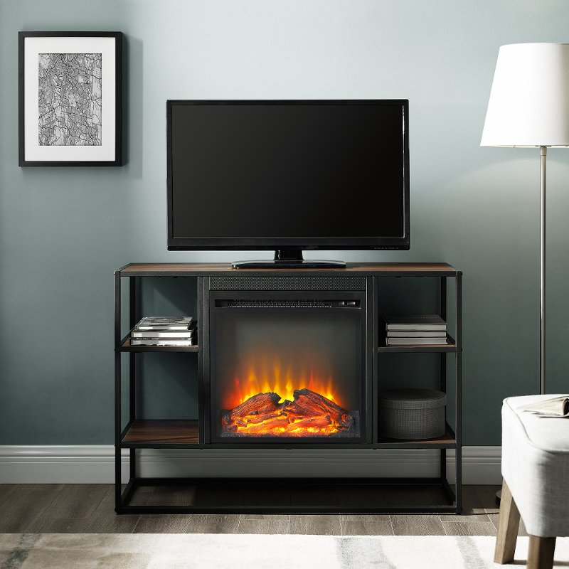 Industrial 40 Inch Metal And Brown Wood Fireplace Tv Stand Wood