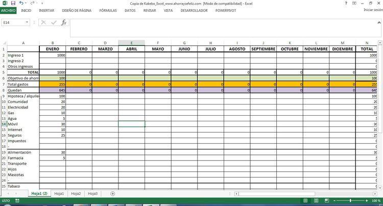 Usa Excel Y Kakebo Y Consigue Ahorrar Hojas De Cálculo Metodo De Ahorro Administracion De Empresas