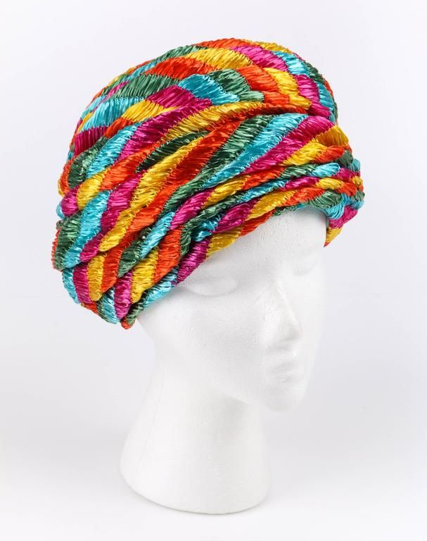 97e2b22b0f8 CHRISTIAN DIOR Chapeaux c.1960 s Multicolor Straw Pleated Beehive Turban Hat