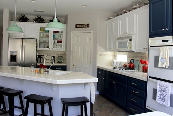 Navy and White Kitchen Cabinet Painting Jadite Old Dixie Pendants