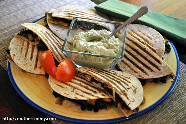 Kale Quesadillas - added tomatoes and garlic, served with plain yoghurt