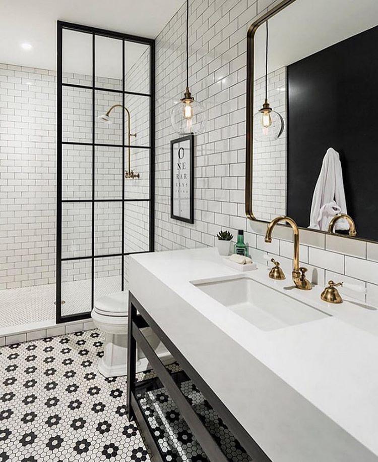 """206 Likes, 2 Comments - ZINC DOOR (@zincdoor) on Instagram: """"Simple black and white bathroom with brass accents #regrant via @beckiowens @zincdoor #zincdoor…"""""""