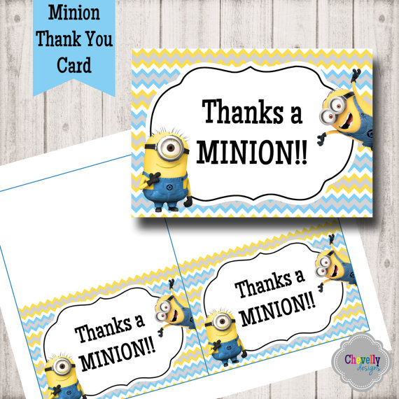 image relating to Printable Minion Birthday Cards titled Minion Thank Yourself Card - TY005 - Printable Birthday