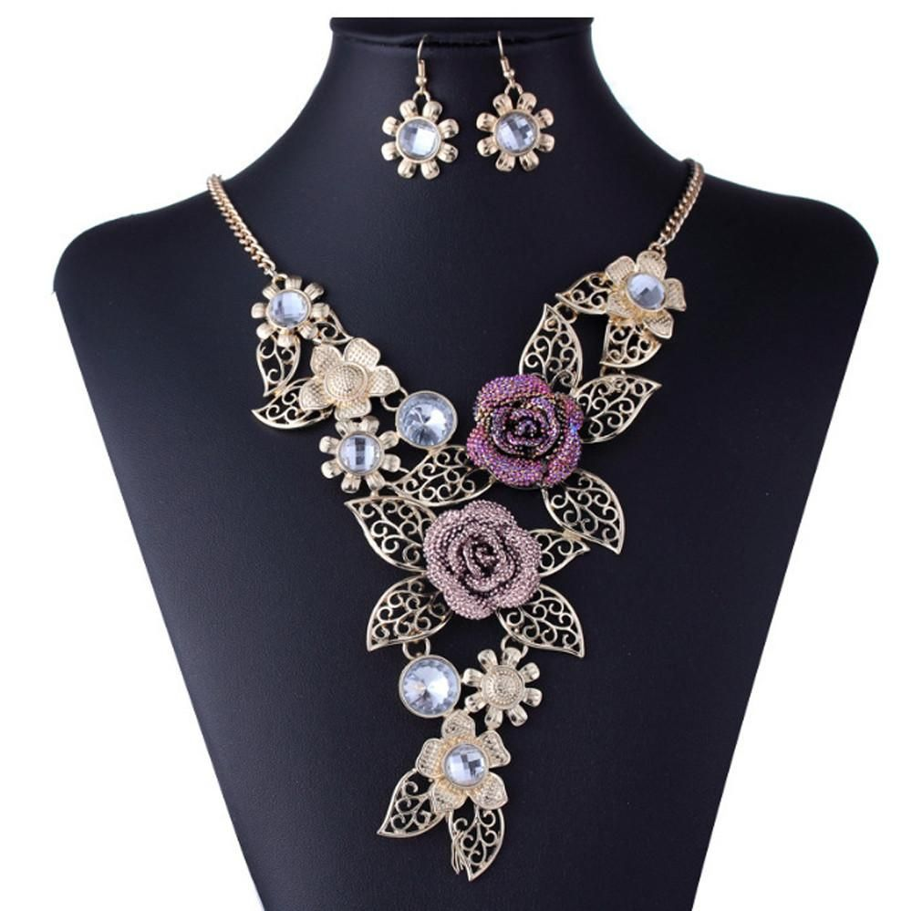 Women\'s Elegant Vintage Flower Gold Necklace Statement Earrings ...