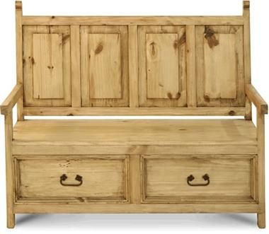 Western Pine Rustic Monastery Bench With Storage Drawers Bench With Storage Entry Storage Bench Rustic Bench