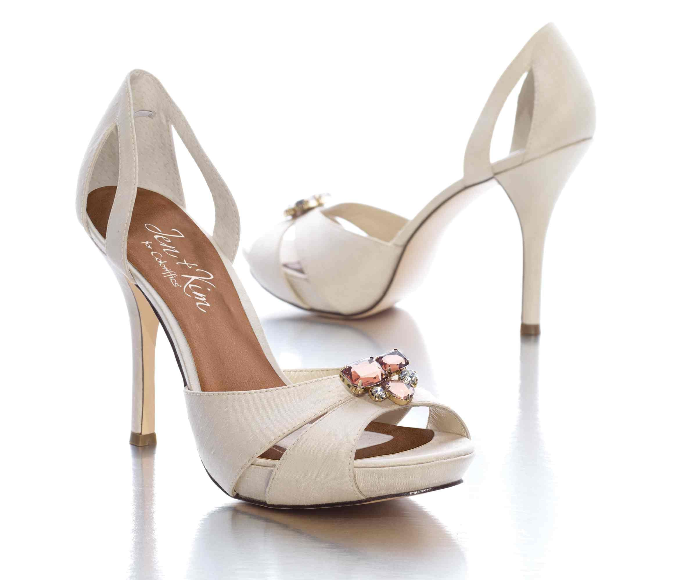 Ivory Cream Colored Show Toe Sandal Heels With Rhinestone Jewels Shoes For WeddingBridal