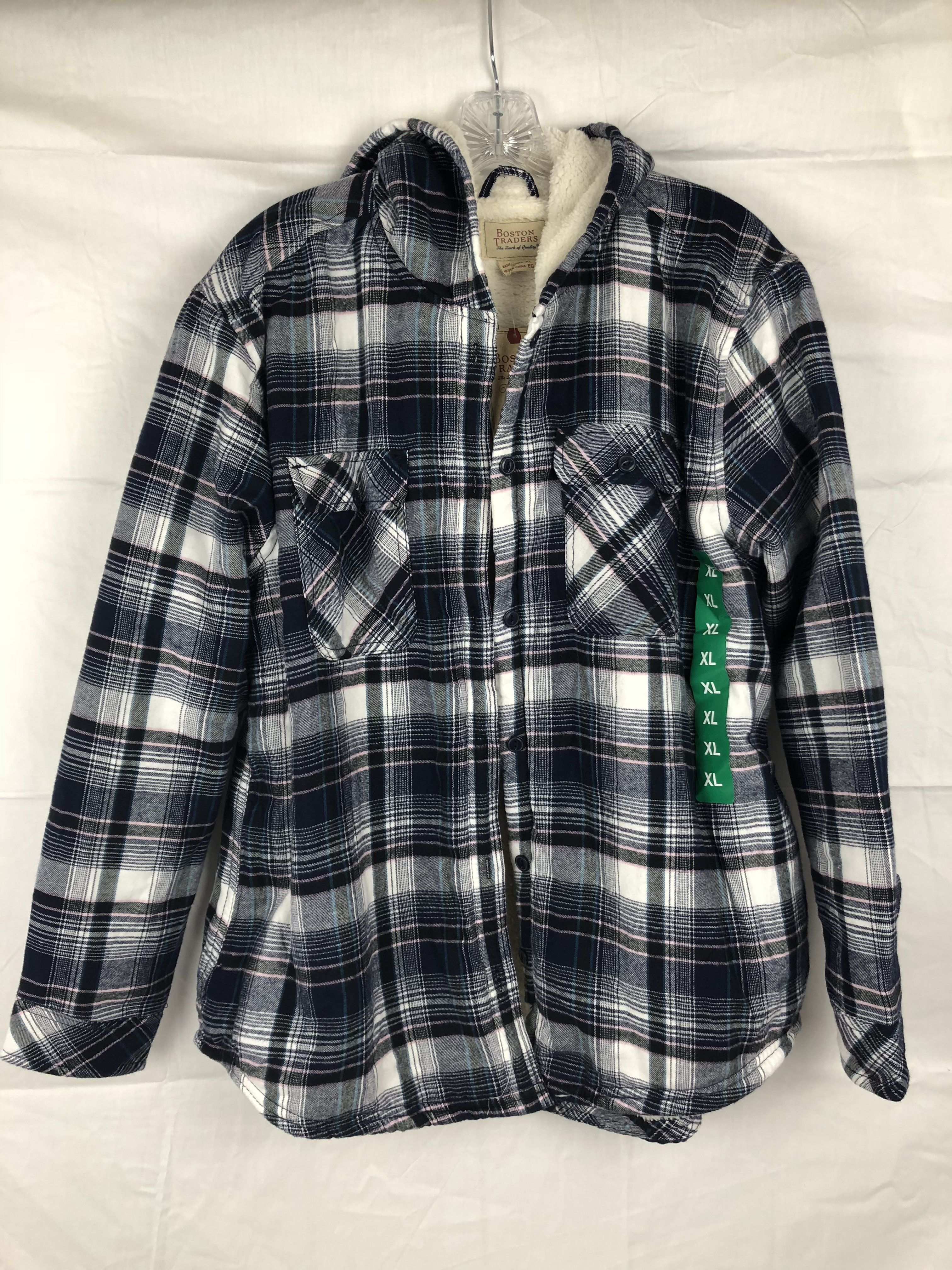 f67c73961dfd Boston Traders Women s Sherpa Lined Hooded Flannel Shirt Jacket ...