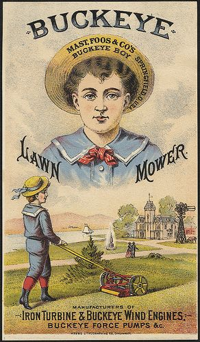 Buckeye Lawn Mower (front) is part of Public lawn Libraries - Published Cincinnati  Kress Lithographing Co  Date issued 18701900 (approximate) Physical description 1 print  chromolithograph ; 15 x 9 cm  Genre Advertising cards Subject Boys; Mowing machines Notes Title from item  Retailer J  & J  A  Rice, Worcester, Mass  Statement of responsibility Mast, Foos & Co  Collection 19th Century American Trade Cards Location Boston Public Library, Print Department Rights No known restrictions