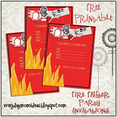 Fire Fighter Party Invitation FREE Printable Fire fighter party
