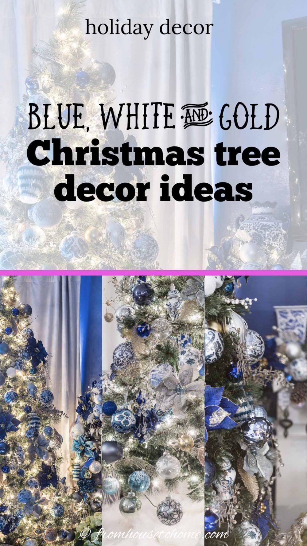 Blue and white Christmas decorations are my favorite! I love the idea of using ginger jars as part of the fireplace mantle decor. #fromhousetohome #christmastree #christmasdecor #xmas #christmastree #holidaysandevents