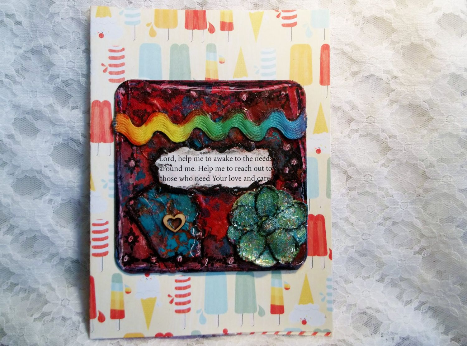 Ooak Original Art On Front Of Greeting Card No Copies Ever Looks