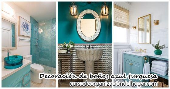 30 Diseos de baos decorados con azul turquesa