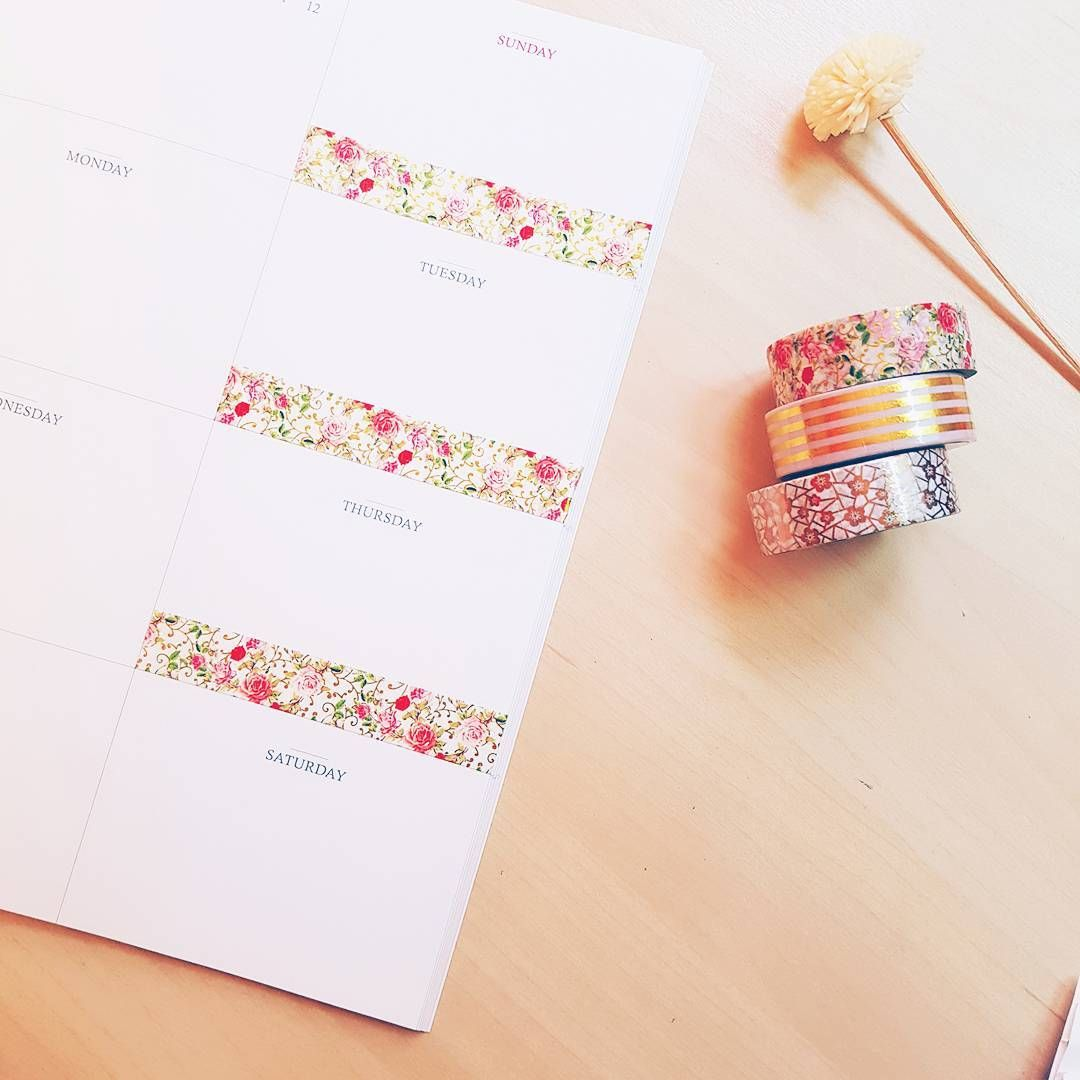 "169 Likes, 11 Comments - Mery Keem (@merykeem) on Instagram: ""Ways to use our washi tapes in our weekly planner 🏵 in this picture we are using the vintage roses…"""