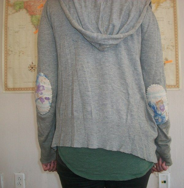 Elbow patches - cut out colourful, patterned ovals and sew onto elbows of hoodie...how-to steps are available