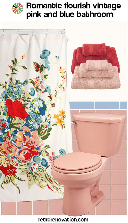 13 Ideas To Decorate A Pink And Blue Tile Bathroom Blue Bathroom Tile Pink Bathroom Tiles Vintage Bathrooms