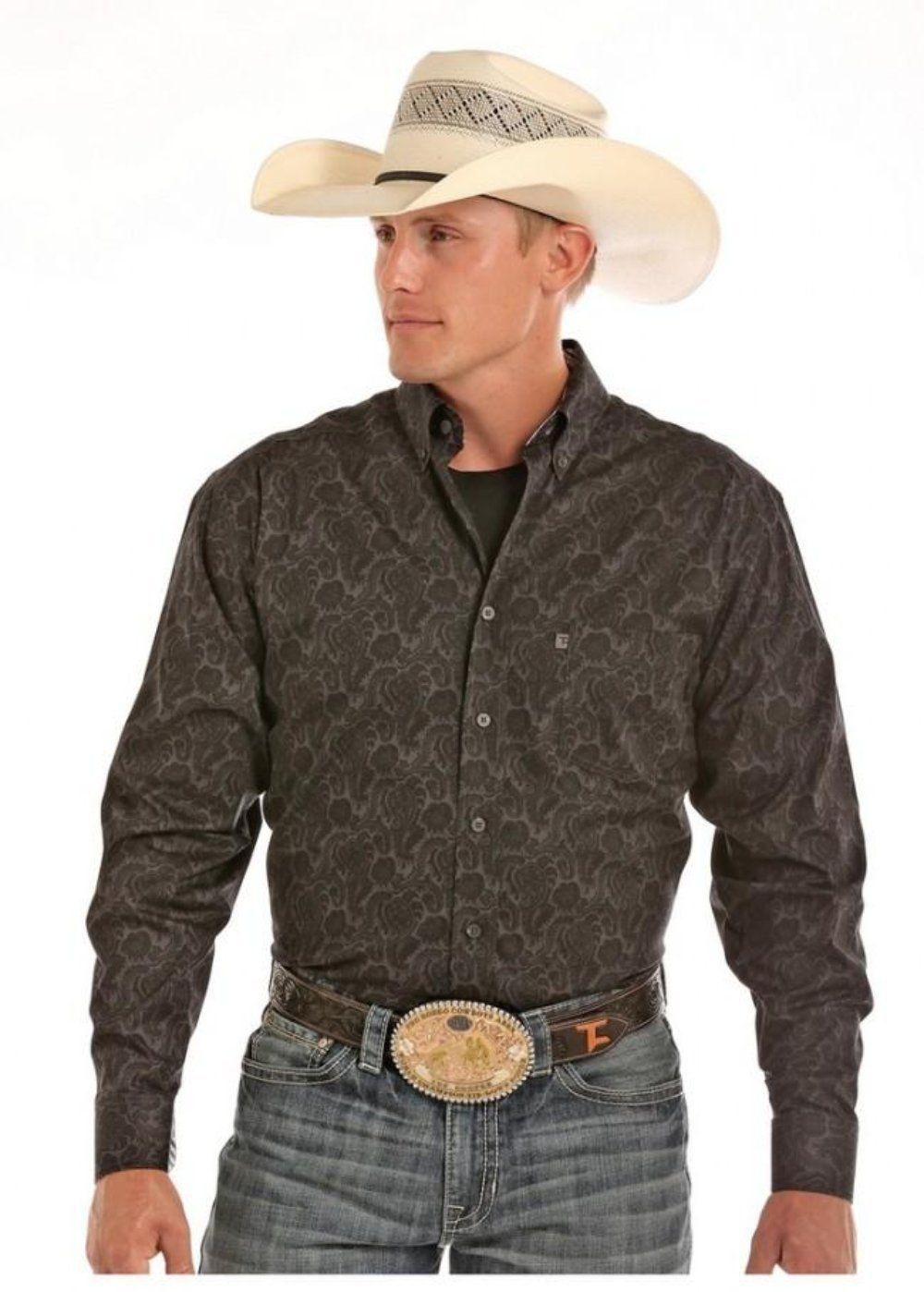 8882c0ab3 Panhandle Tuf Cooper Men's L/S Black Paisley Print Button Shirt ...