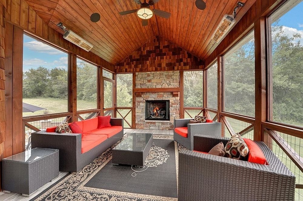 Rustic Sunroom With A Splash Of Red And Gray [Design: Mark D. Williams